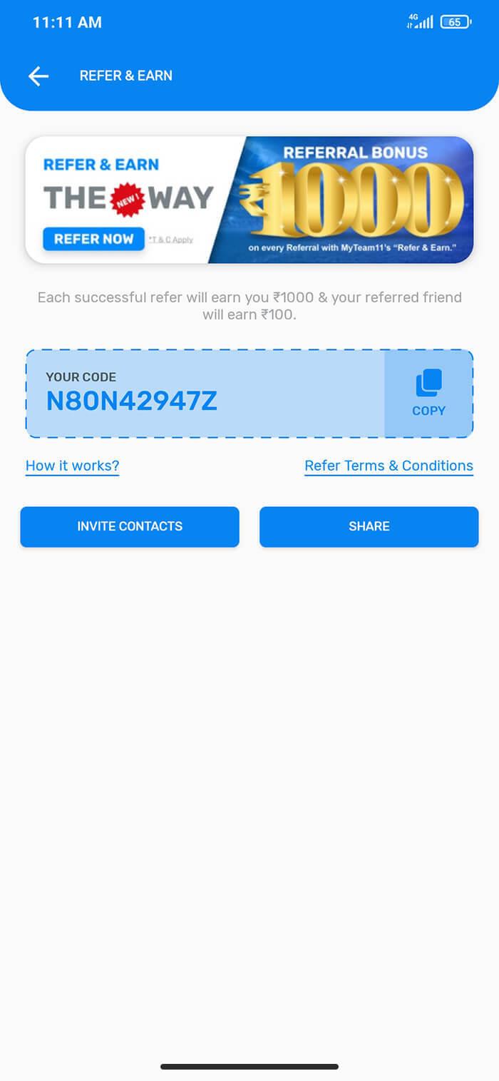 myteam11 ios app refer friend